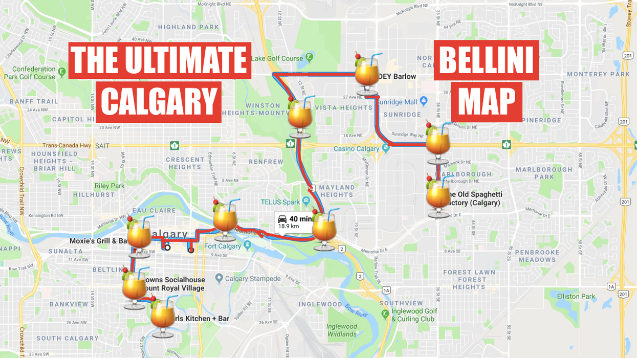This Map Will Take You To All The Best Bellini Spots In Calgary