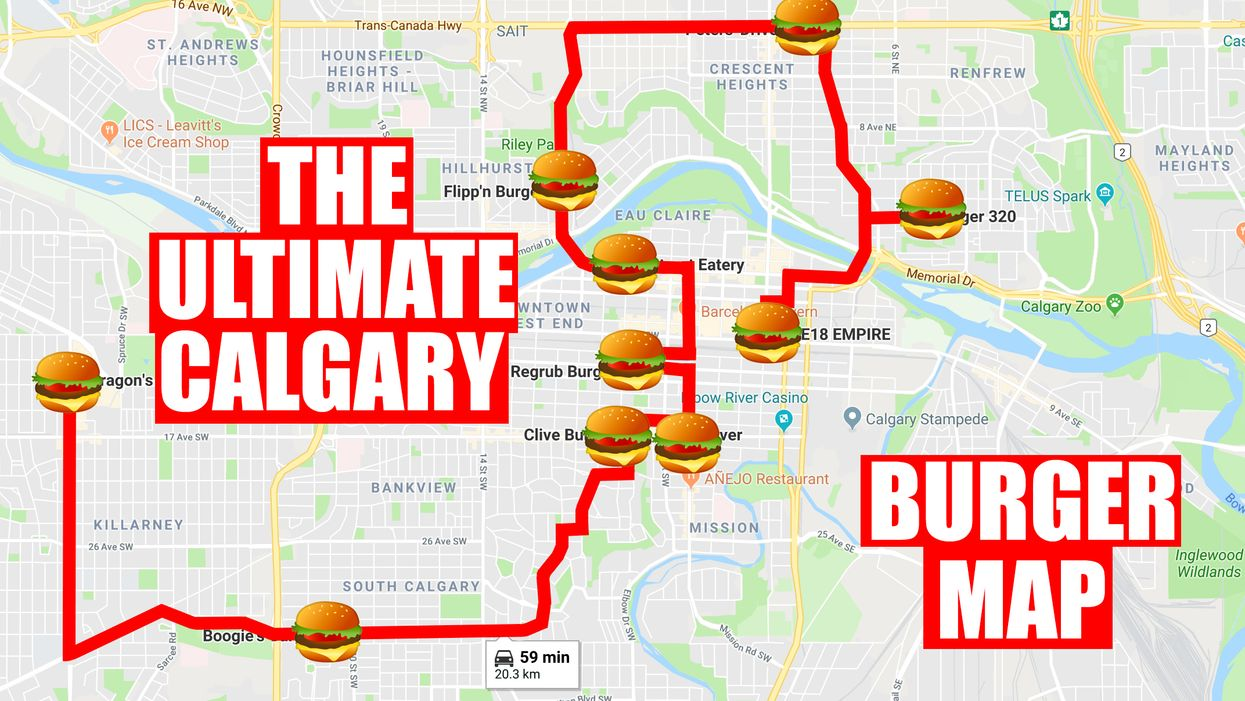 This Map Will Take You To All The Best Burger Joints In Calgary