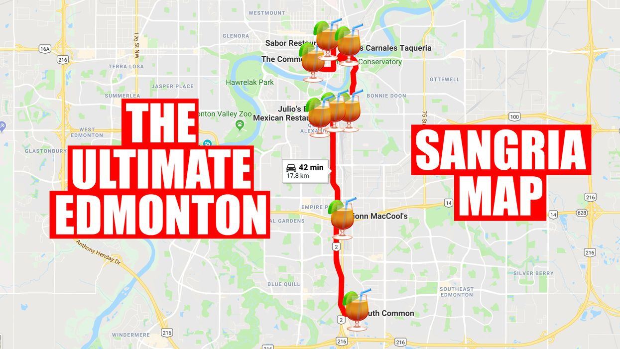 This Map Will Take You On The Most Epic Sangria Crawl Of Edmonton