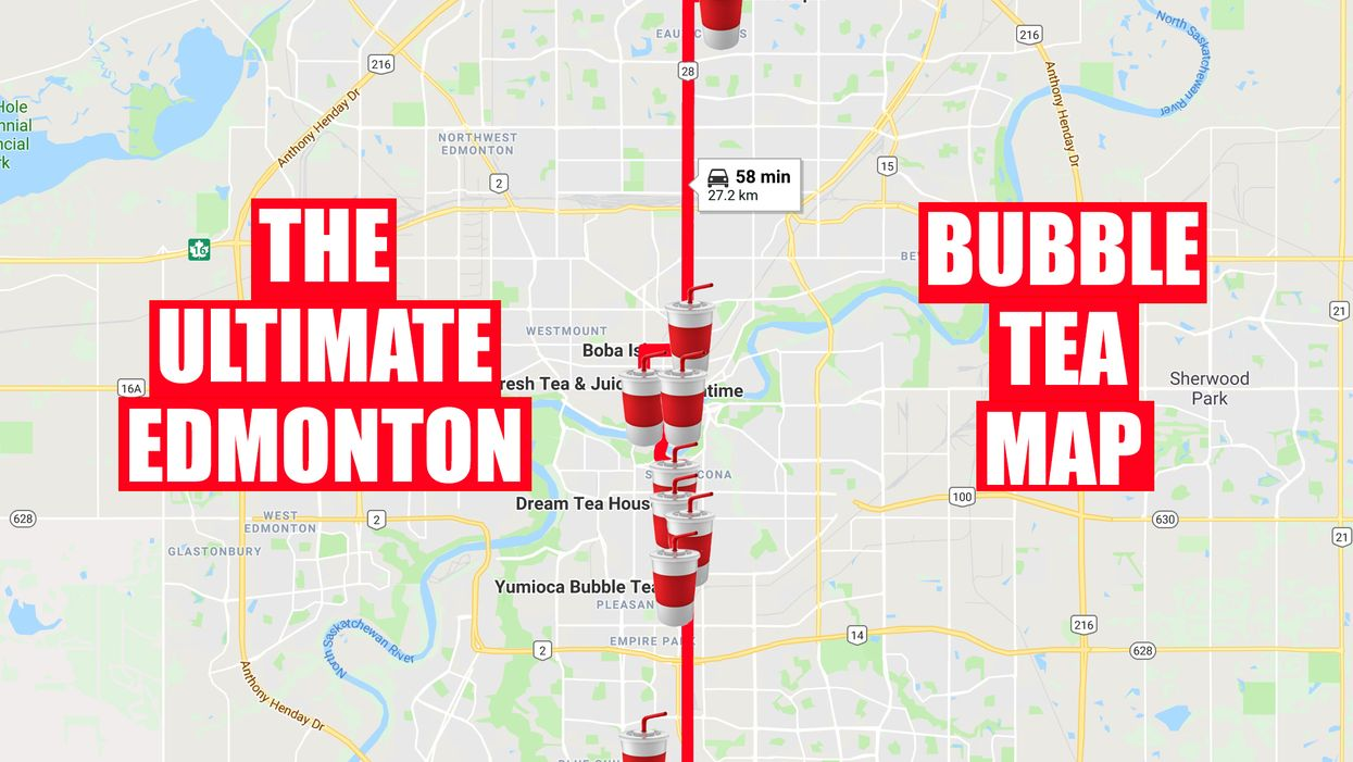 This Map Will Take You To All The Best Bubble Tea Spots In Edmonton