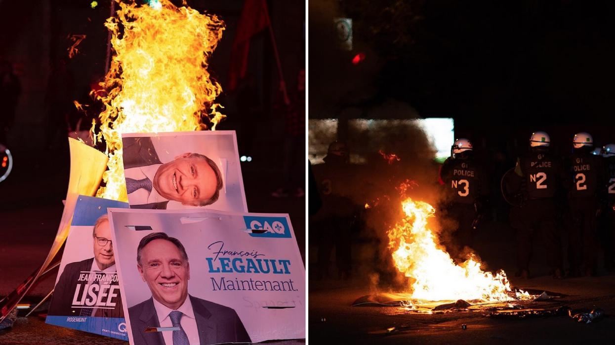 Élections 2018: Des manifestants mécontents mettent le feu dans les rues de Montréal