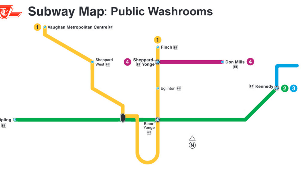 This TTC Map Shows The Only Stations That Have A Public Bathroom And It Proves Our Transit Is Absolutely Pathetic