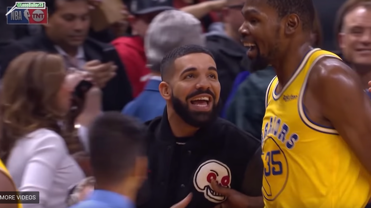 Drake Could Not Stop Flirting With Kevin Durant At The Raptors Game In Toronto Last Night (VIDEO)