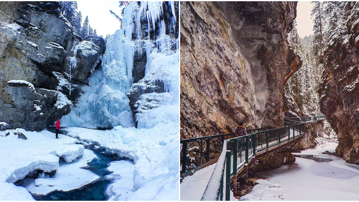 This 2.6 KM Winter Trail Will Lead You To Frozen Waterfalls, Tunnels, And A Massive Canyon In Canada