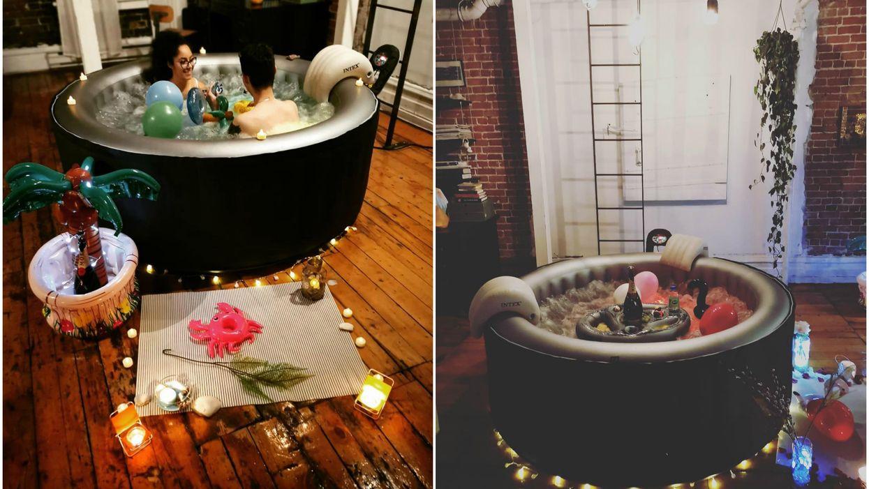 Tu peux maintenant te faire livrer un spa gonflable à la maison pour toute une soirée à Montréal