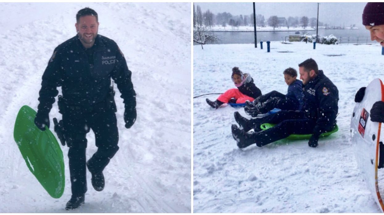BC Police Officers Joined A Group Of Kids For Sledding Races And Snowball Fights Yesterday (PHOTOS)