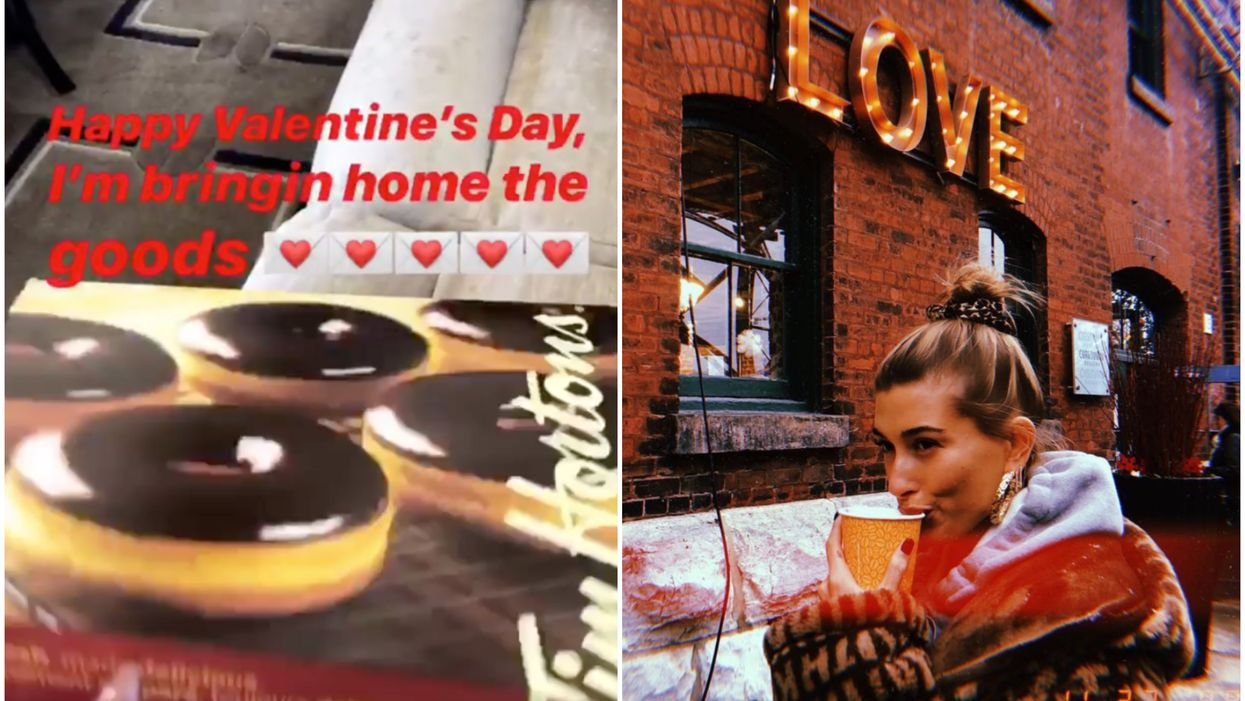 Hailey Bieber Gives Justin Bieber A Box Of Tim Hortons Donuts For Valentine's Day