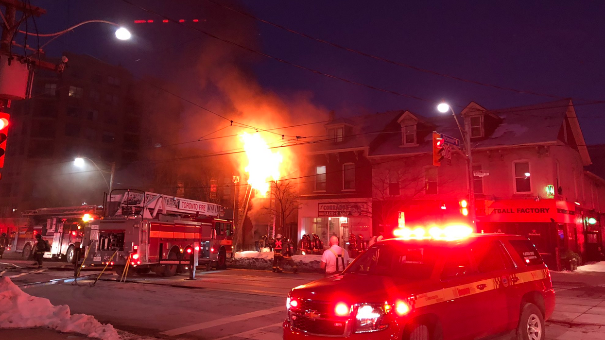 Toronto Firefighters Are Battling A Five-Alarm Fire That Is Threatening To Spread To Other Buildings