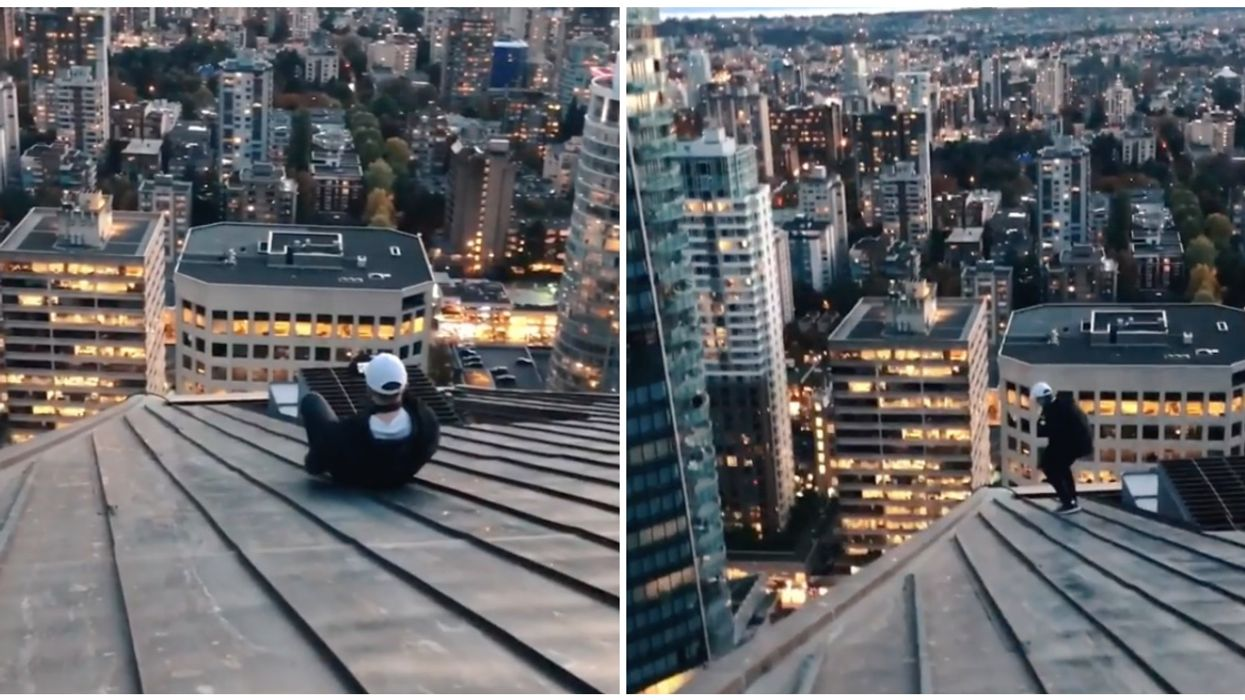 People Are Calling This Guy Crazy For Sliding Down The Roof Of A Canadian Skyscraper (VIDEO)
