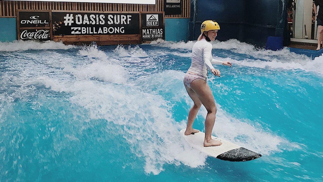 You Can Go Surfing Inside This Tropical Beach-Themed Restaurant Near Ontario