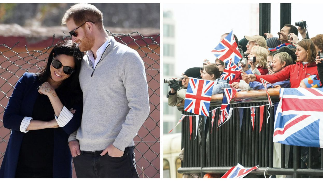 This Photo Of Royal Super Fans Celebrating Meghan & Harry's Baby Is The Weirdest Thing You'll See All Day