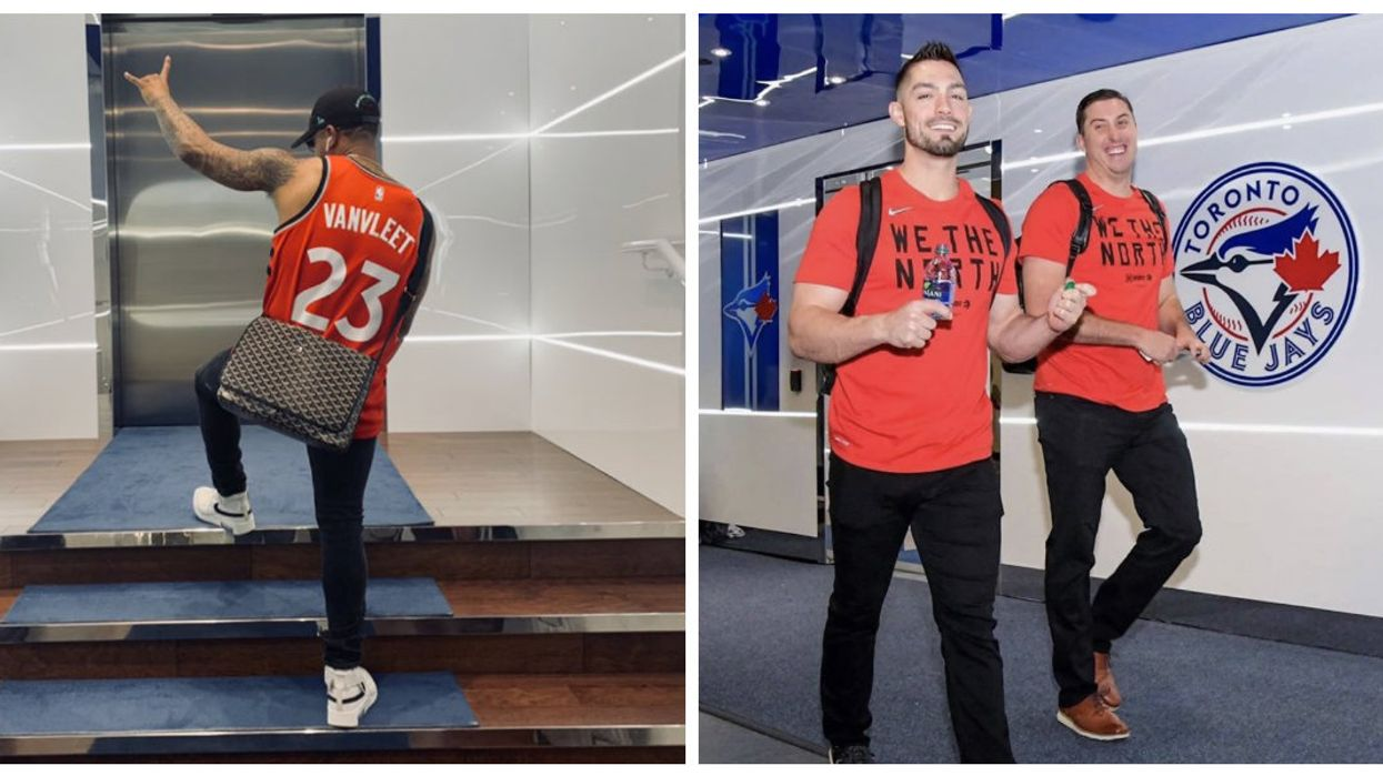 """Toronto Blue Jays Show Off Their Raptors Pride With """"We The North"""" Matching Outfits (PHOTOS)"""