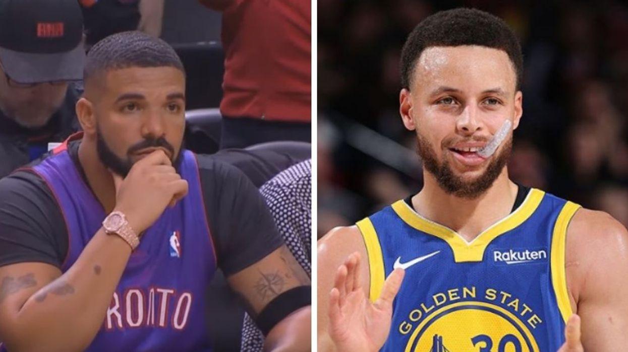 Drake Got Caught Hiding His Golden State Warrior Tattoos At The Raptors Final Game Tonight (PHOTOS)
