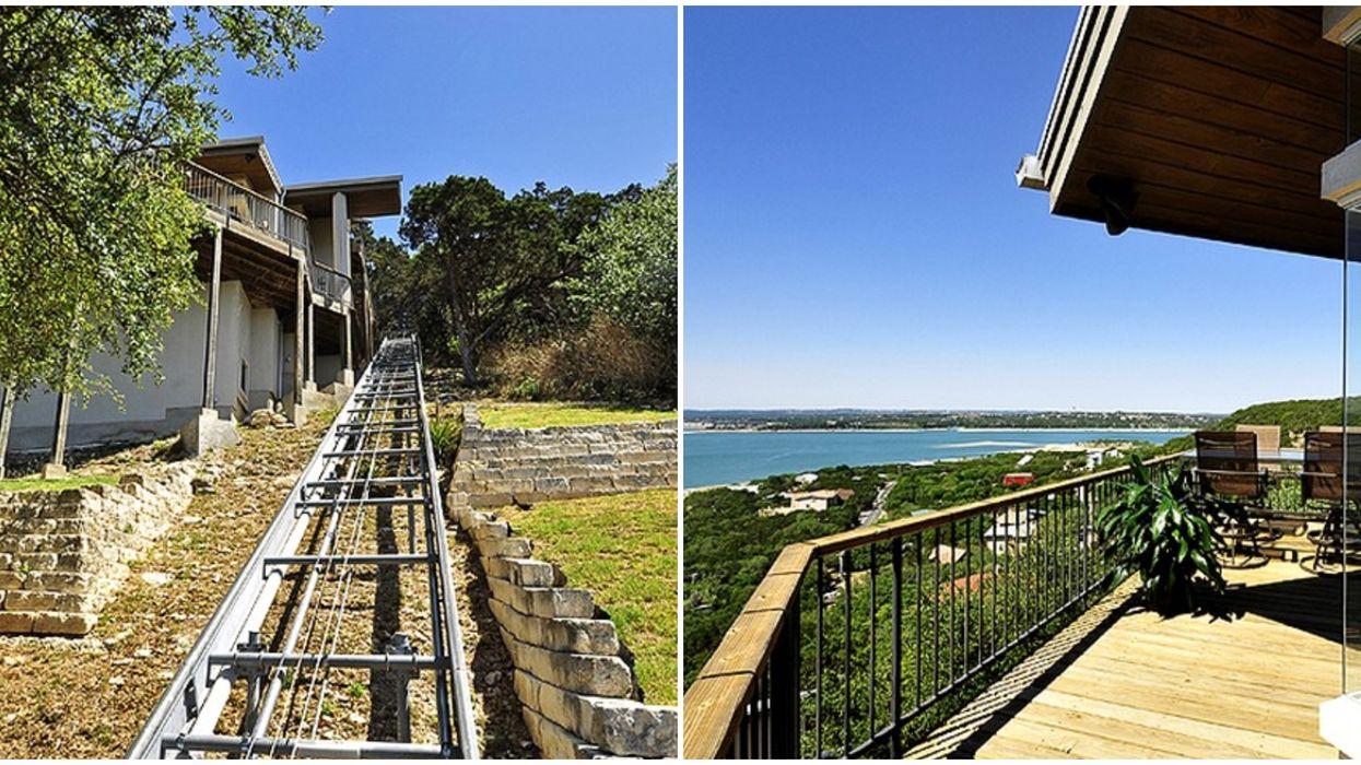 You Have To Take A Private Tram To Get Up To This Rentable Austin Lakeside Villa