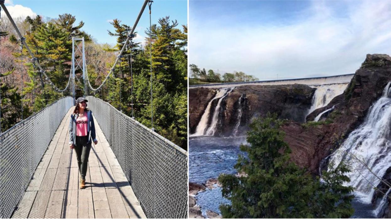 Ce parc de randonnée tout près de Québec a une passerelle suspendue de 113 mètres qui offre une vue incroyable sur ses chutes