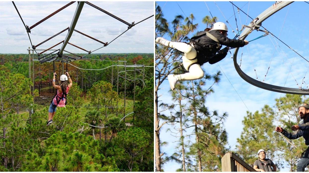 Adrenaline Addicts Can Ride The Only Zip Line Roller Coaster In The U.S. In Florida