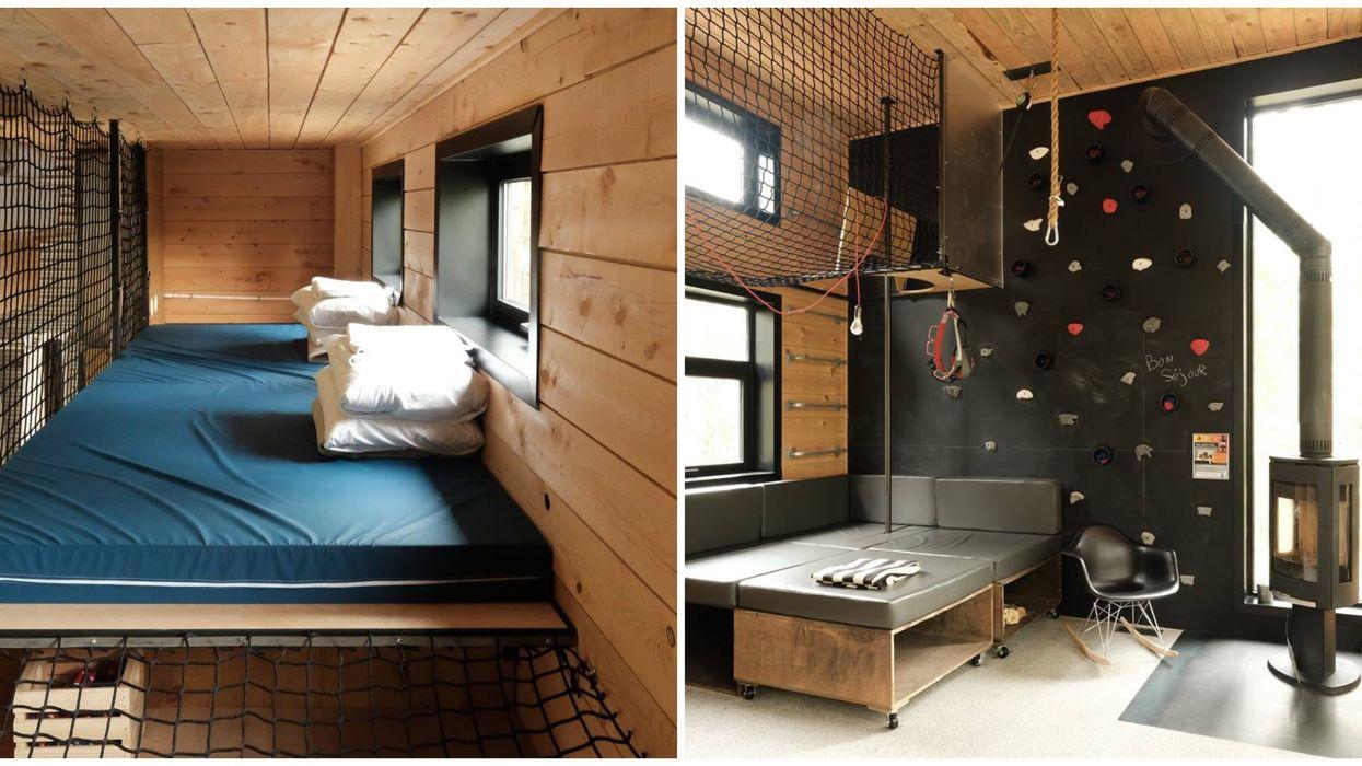 Tu peux dormir dans un loft avec lit suspendu et mur d'escalade à moins de 1h30 de Montréal