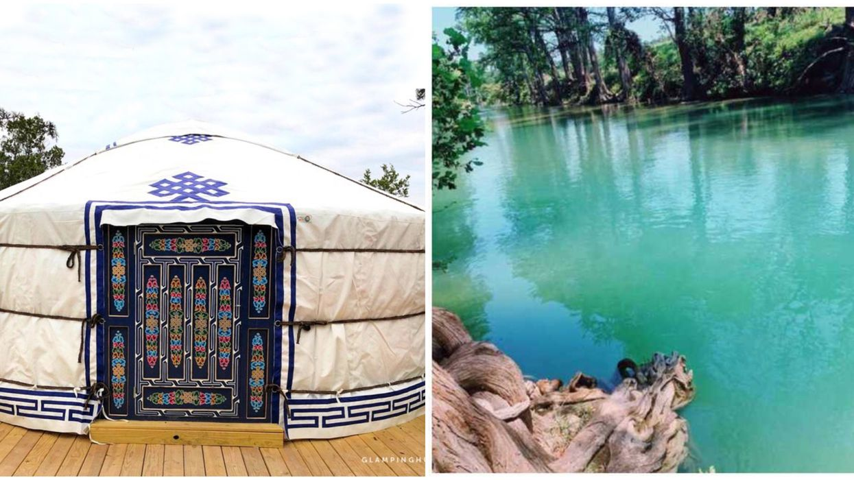 You Can Stay In A Luxury Yurt Near This Beautiful Blue Swimming Hole Near Austin