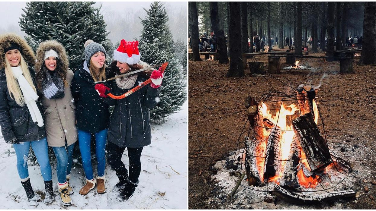 Ontario's Christmas Village Has A Snowy Forest Full Of Bonfires & You Can Toast S'mores