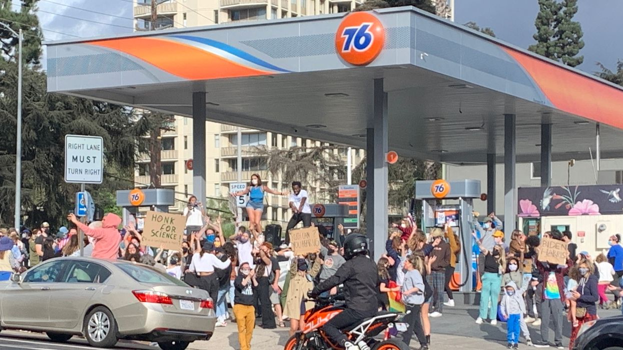 This Massive Gas Station Dance Party Was The Biggest Biden Victory Party In Los Angeles