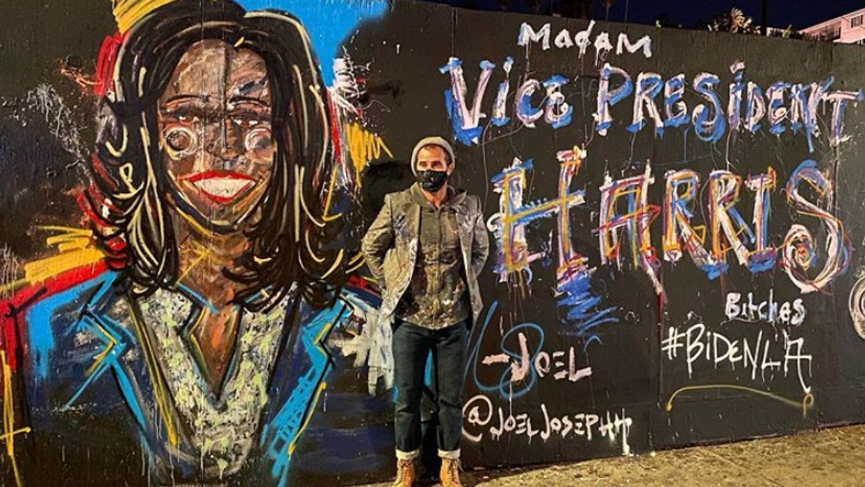 A Guy Painted Joe Biden's Head On The Wall As People Around Him Danced In The LA Streets