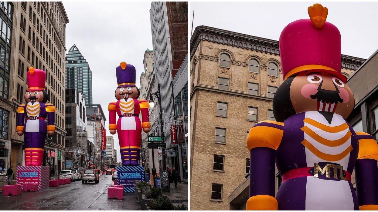 2 énormes casse-noisettes sont de garde sur la rue Ste-Catherine à Montréal et ça surprend