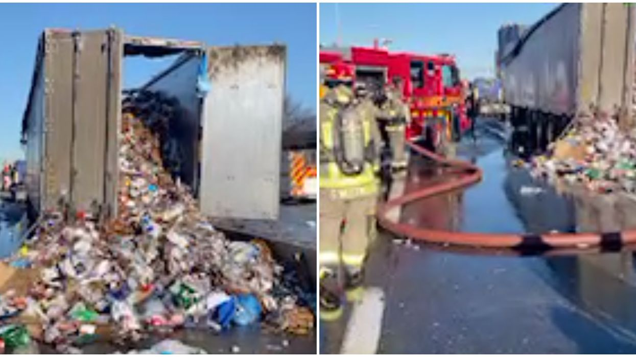 An Ontario Highway Was A Hot Mess After A Bunch Of Trash Caught Fire (PHOTOS)