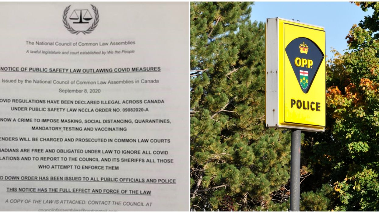 Ontario Police Are Slamming COVID-19 Flyers That Are Declaring Restrictions Are Illegal