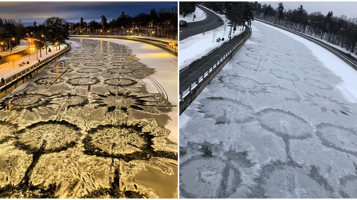 Ice 'Crop Circles' Have Appeared On Ottawa's Rideau Canal & They Are Out Of This World