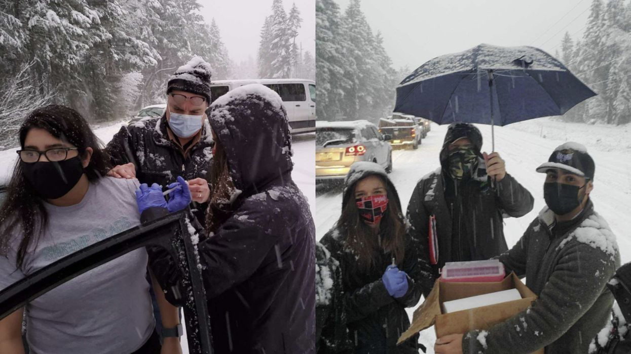 Health Care Workers Stuck In Snow Give COVID-19 Vaccine Doses To Stranded Drivers