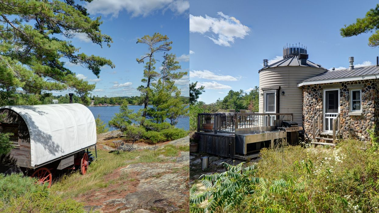 This $670K Island In Ontario Has A Fairytale Cottage & Covered Wagon You Can Sleep In