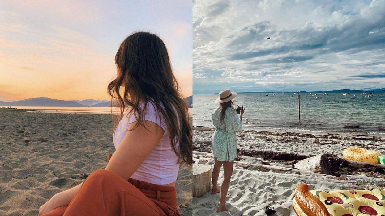 Photo of a woman at Spanish banks and photo of a woman at Savary Island