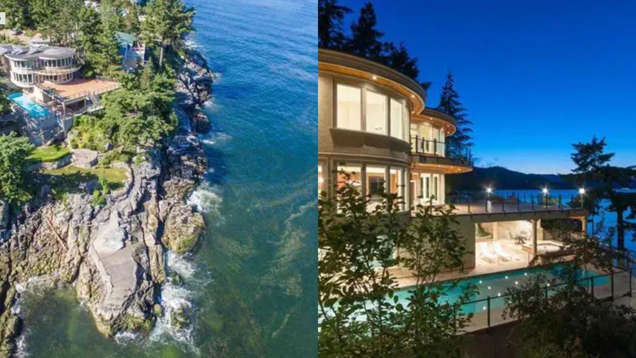 Photos of aerial view of mansion and nighttime view of mansion