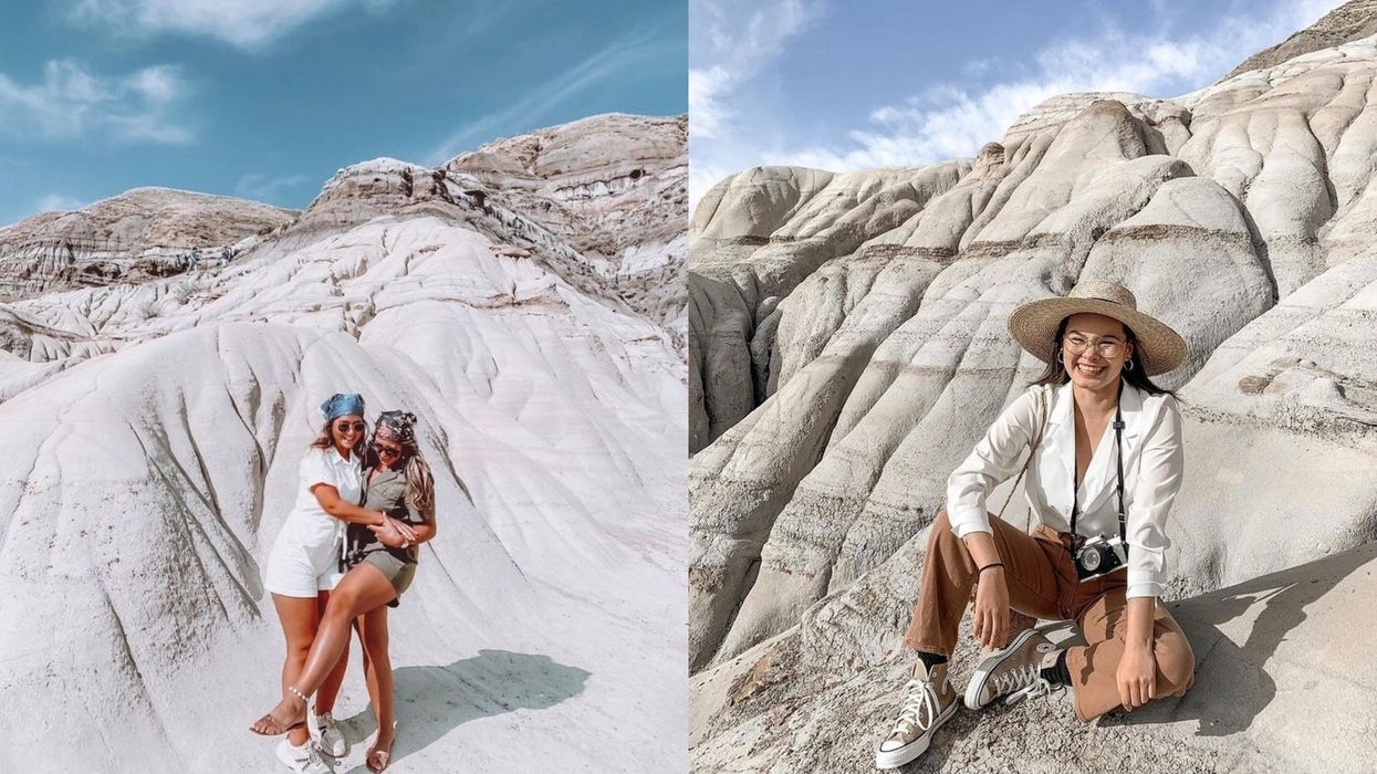Photos of people in front of stunning rock formations