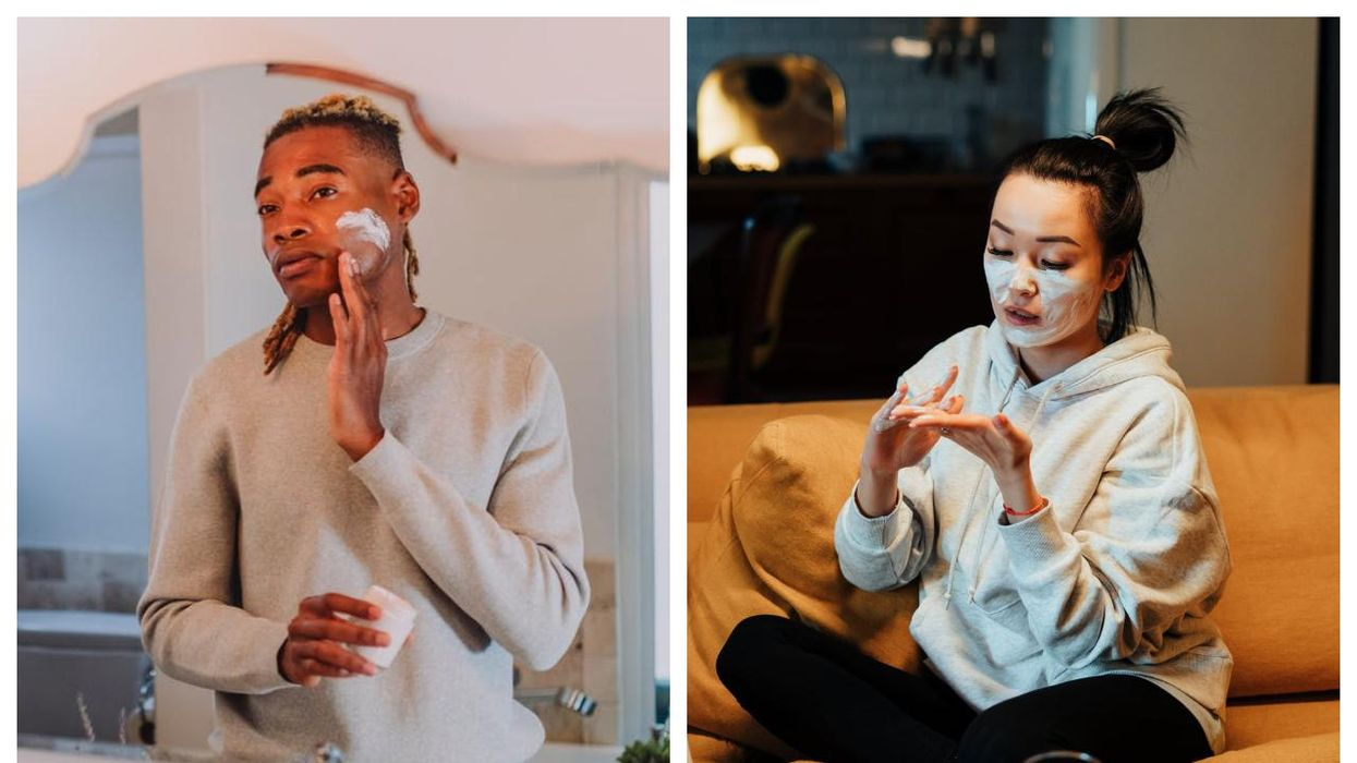 Two people applying skincare cream to their faces.