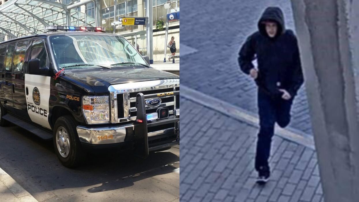 Photo of Calgary Police Car and of the alleged suspect