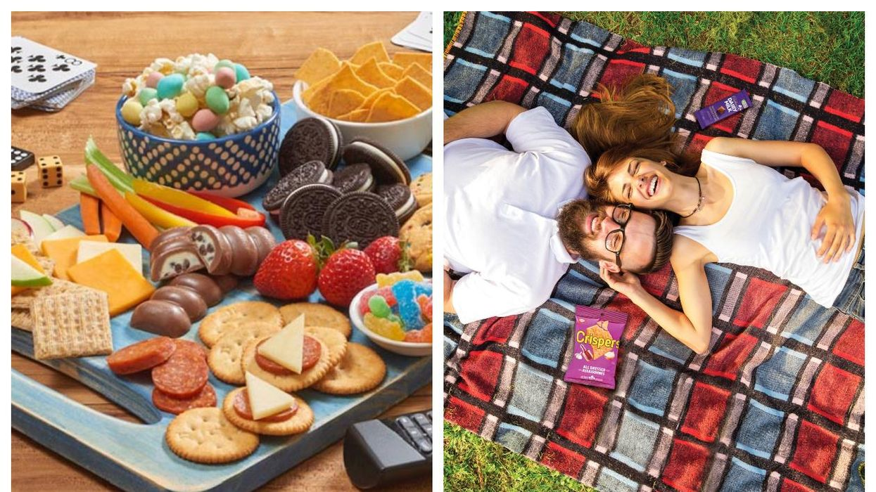 Mondelez snack arranged on a cutting board (left) and two people laughing on a picnic blanket (right)