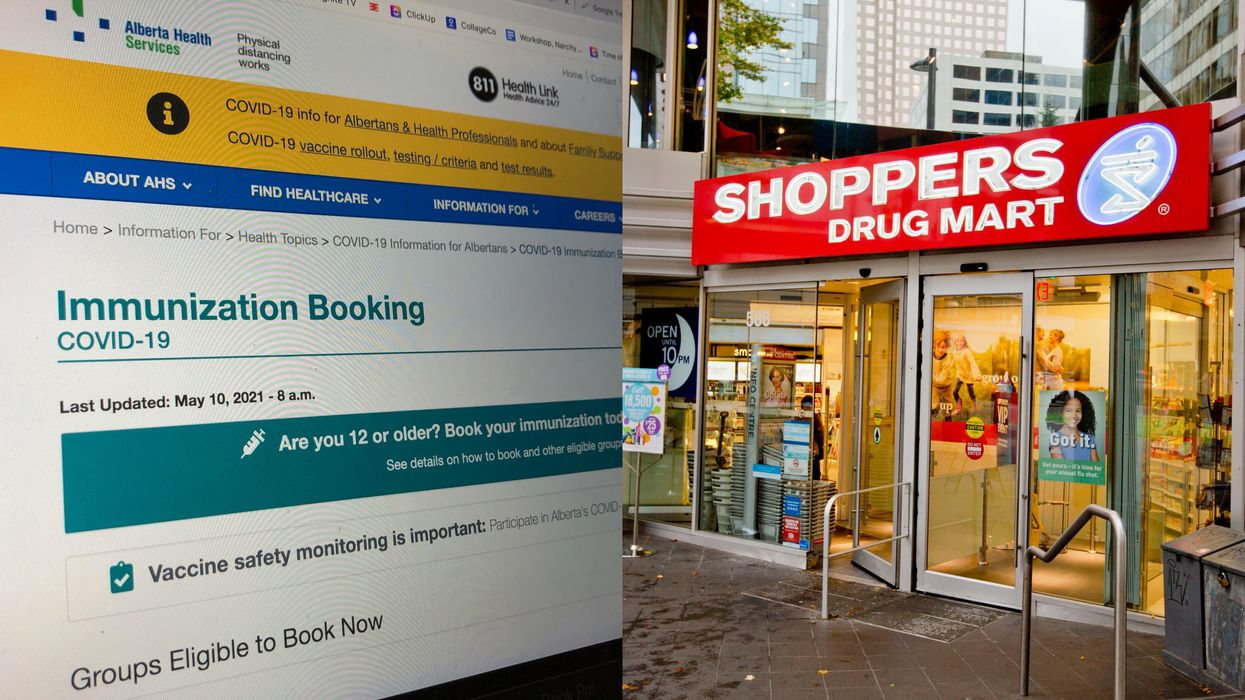 Photos of AHS immunization booking page and a shoppers drugmart