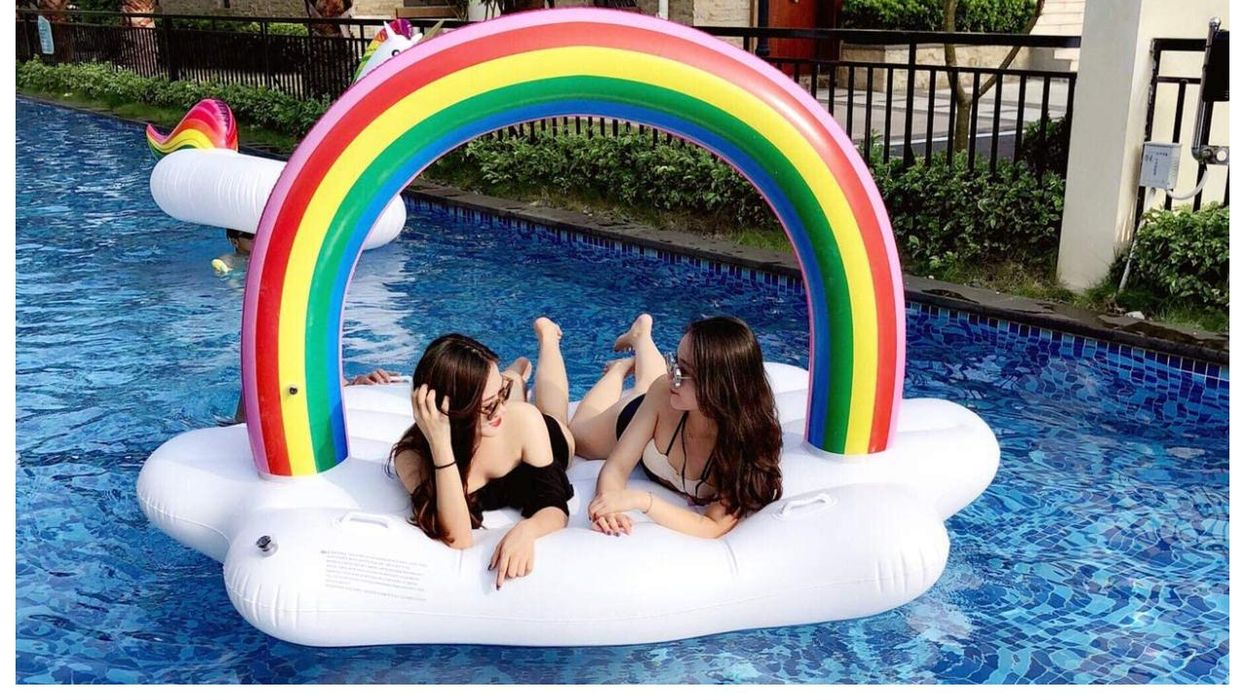 This Rainbow Cloud Pool Float Is Just Perfect For The May Long Weekend