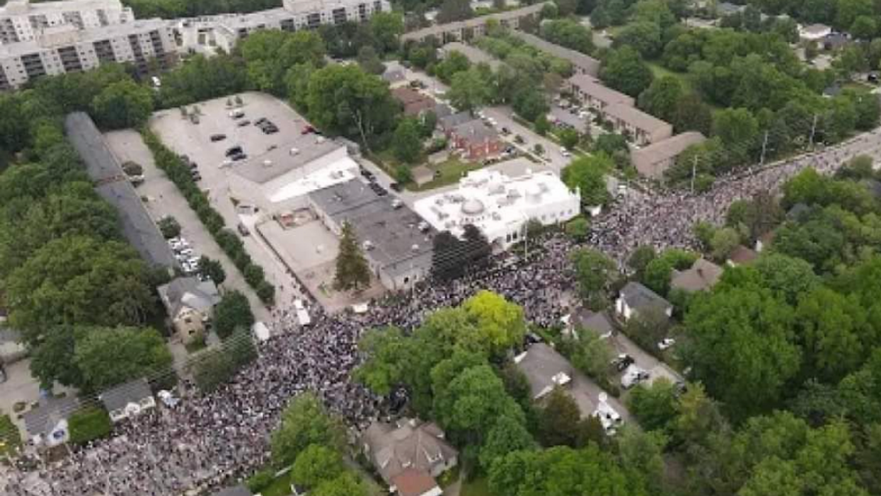 Aerial photo of the thousands gathered for the vigil