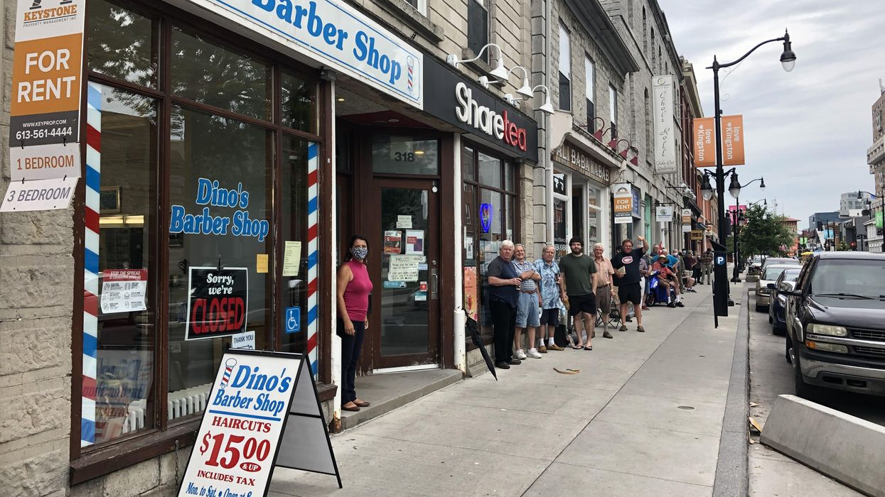 Ontario Barber Shop Had People Waiting In Line For Hours Today