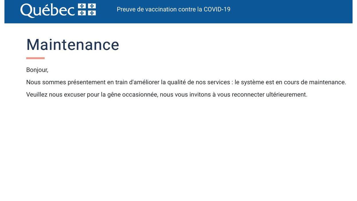 L'inscription à la loto-vaccin au Québec ne fonctionne pas