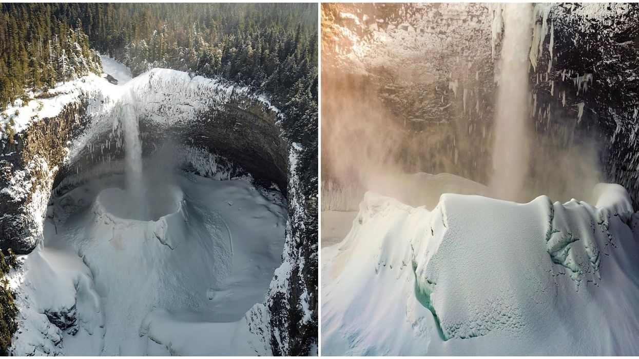 """Frozen BC Waterfall Creates A Massive """"Snow Crater"""" You Can Actually Visit This Winter"""