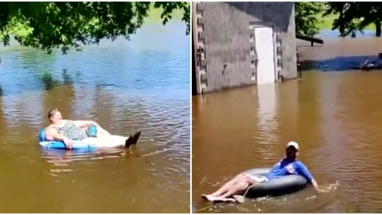 Hadashville Manitoba Locals Turned Their Flooded Neighbourhood Into A Lazy River (VIDEO)