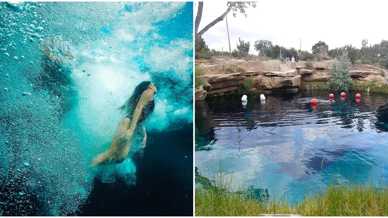 New Mexico's Blue Hole Has Turquoise Water & It's Only A Road Trip Away From Arizona