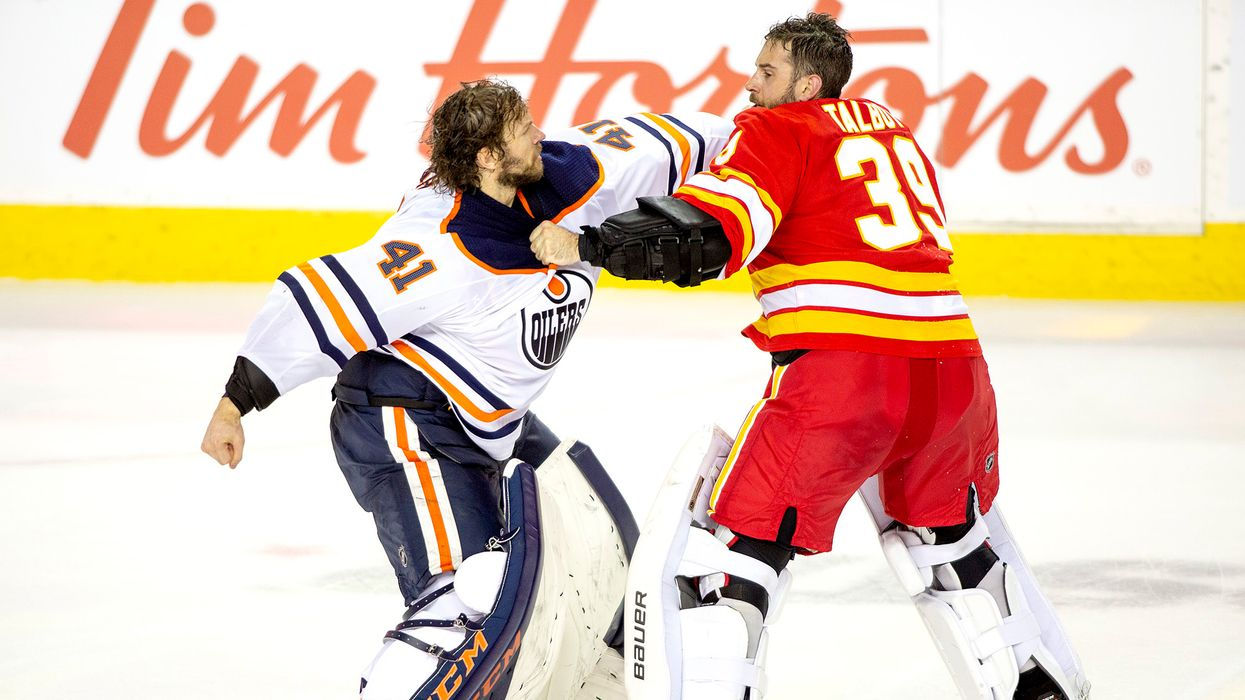 """Alberta's Goalie Fight This February Was Wild & It Proves The """"Battle Of Alberta"""" Is Real"""