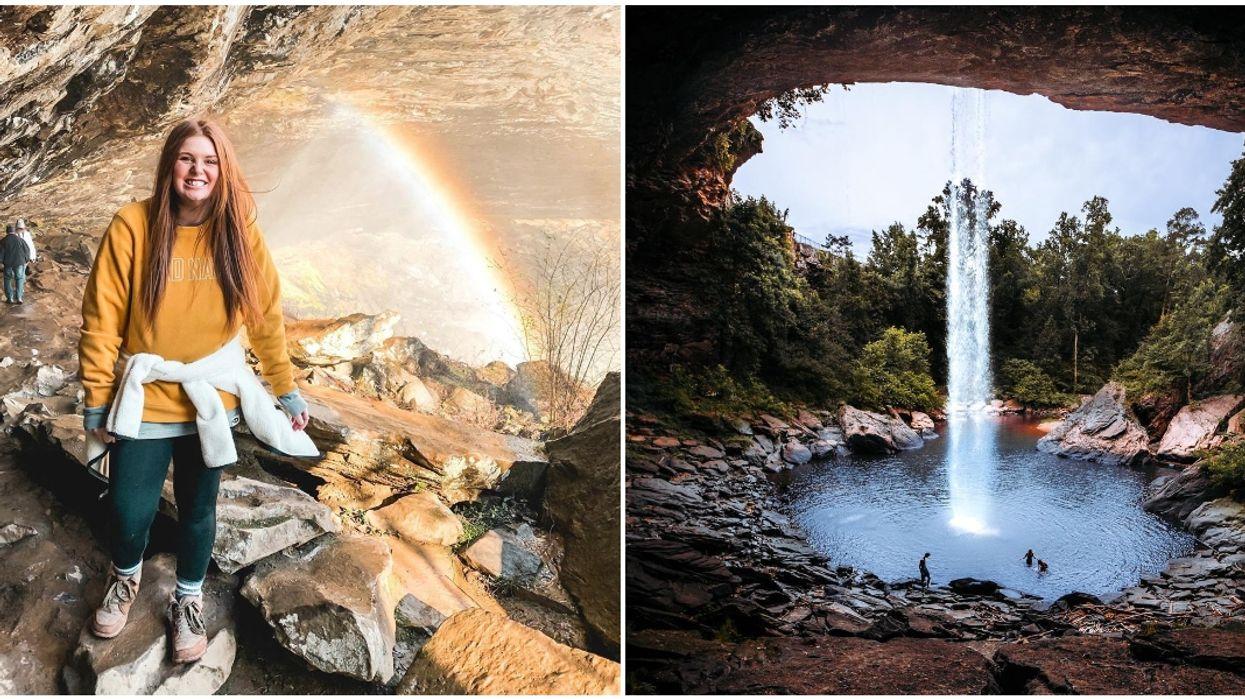 Waterfalls In Alabama Noccalula Falls Has Hidden Pool Behind 90 Ft. Stream