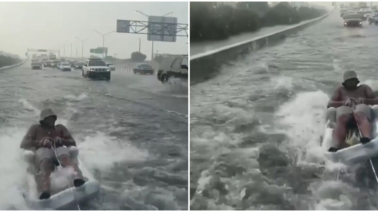 Florida Man On Miami's Flooded Highway Spotted Tubing Next To Traffic