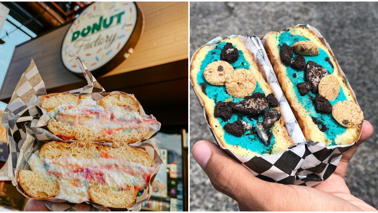 Donut Factory In Seattle Serves Up Breakfast & Dessert With Donut Ice Cream Sandwiches