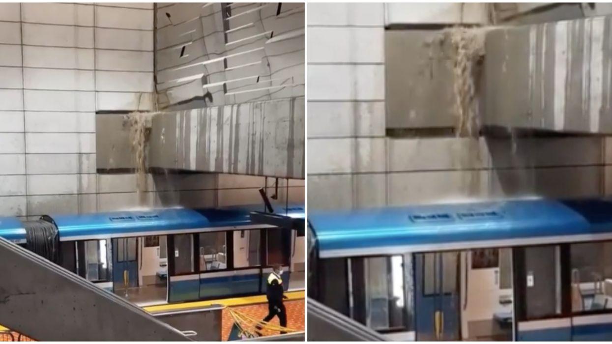 Une infiltration d'eau à la station Lionel-Groulx à Montréal a causé des dégâts (VIDÉO)